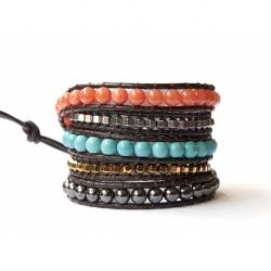 Bracciale donna multicolore su cuoio nero