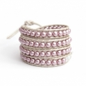 Rose Swarovski Pearls Wrap Bracelet For Women. Polished Pearls Onto White Pearl Leather