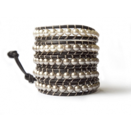 Cream And Almond Pearls Swarovski Beaded Wrap Bracelet For Woman. Extra Elegant Pearls Onto Dark Brown Leather