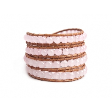 Pink Wrap Bracelet For Woman - Precious Stones Onto Natural Light Leather