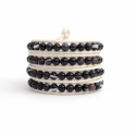 Black Wrap Bracelet For Woman - Precious Stones Onto Black Leather