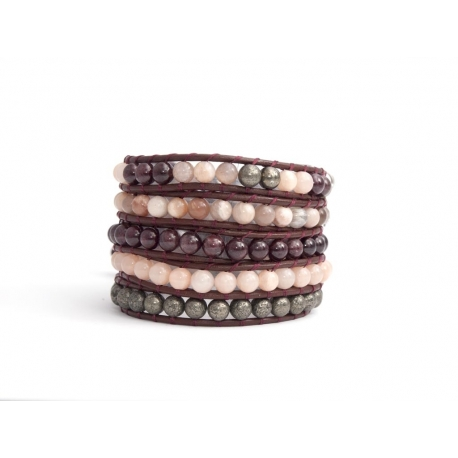 Mix Colored Wrap Bracelet For Woman - Precious Stones Onto Brown Bark Leather