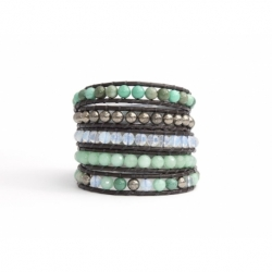 Blue Sky Wrap Bracelet For Woman - Precious Stones Onto Dark Brown Leather