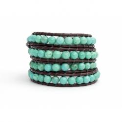 Turquoise Wrap Bracelet For Woman. Precious Stones Onto Dark Brown Leather