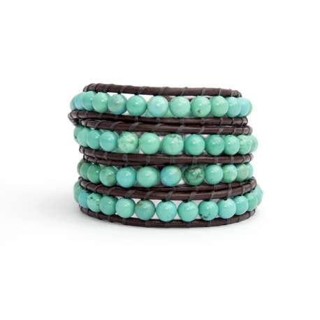 Turquoise Wrap Bracelet For Woman. Precious Stones Onto Dark Brown Leather