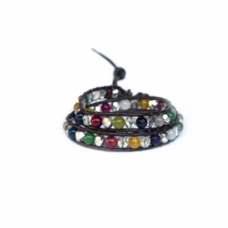 Mix Colored Wrap Bracelet For Woman - Precious Stones Onto Dark Brown Leather