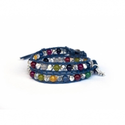 Mix Colored Wrap Bracelet For Woman - Precious Stones Onto Blue Leather
