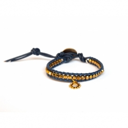 Gold Wrap Bracelet For Woman - Precious Stones Onto Blue Leather And Charm