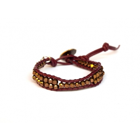 Bronze Wrap Bracelet For Woman - Precious Stones Onto Dark Red Leather