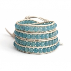 Blue Sky Wrap Bracelet For Woman - Precious Stones Onto Metallic Rouge Leather