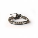 Grey Wrap Bracelet For Woman - Precious Stones Onto Mallow Leather