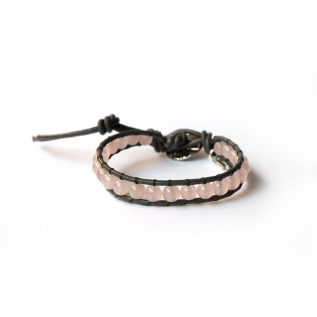 Pink Wrap Bracelet For Woman - Precious Stones Onto Mallow Leather