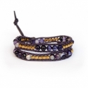 Mix Colored Wrap Bracelet For Woman - Precious Stones Onto Amethyst Purple Leather