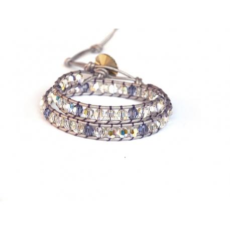 Lilac Tones Wrap Bracelet For Woman. Swarovski Crystals Onto Metallic Lilac Leather And Swarovski Button