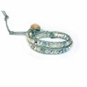 Swarovski Sky Blu Crystals Wrap Bracelet For Woman. Crystals Onto Metallic Sky Blu Leathers