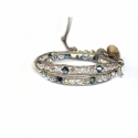 Extra Light Wrap Bracelet For Women. Swarovski Briolette Onto Light Titanium Leather And Swarovski Button