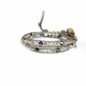 Extra Light Wrap Bracelet For Women. Swarovski Briolette Onto Light Titanium Leather And Swarovski Button