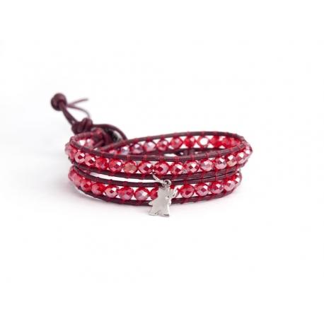 Bracciale donna cristalli rosso e charm in argento