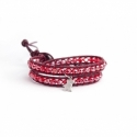 Red Wrap Bracelet For Woman - Crystals Onto Dark Red Leather And Silver Charm