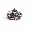 Mix Colored Wrap Bracelet For Woman - Crystals Onto Dark Brown Leather And Charm