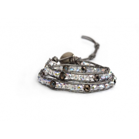 Extra Bright Wrap Bracelet For Women. Swarovski Briolette And Brown Touch With Swarovski Button