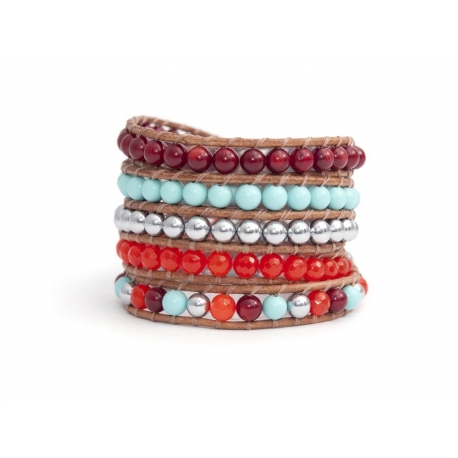 Mix Colored Wrap Bracelet For Woman - Precious Stones Onto Black Leather