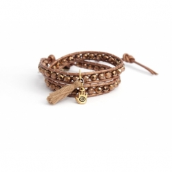 Brown Wrap Bracelet For Woman - Crystals Onto Metallic Brown Leather