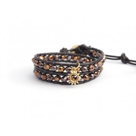 Brown Wrap Bracelet For Woman - Crystals Onto Dark Brown Leather And Charm