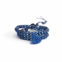 Metallic Blue Wrap Bracelet For Woman - Crystals Onto Metallic Blue Leather And Charm