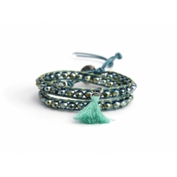 Green Wrap Bracelet For Woman - Crystals Onto Indicolite Leather And Charm