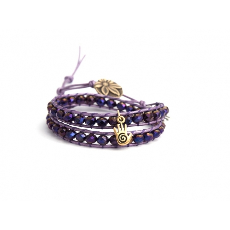 Purple Wrap Bracelet For Woman - Crystals Onto Metallic Cyclamen Leather