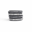 Grey Wrap Bracelet For Woman - Precious Stones Onto Black Leather