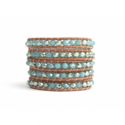 Blue Sky Wrap Bracelet For Woman - Crystals Onto Natural Light Leather