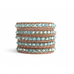 Bracciale donna cristalli azzurri con riflessi rame