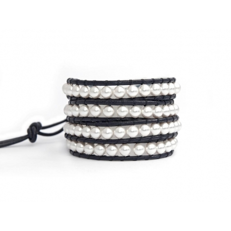White Swarovski Pearls Wrap Bracelet For Woman. Personality Onto Black Leather