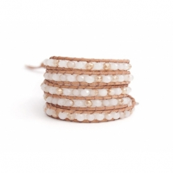 White Wrap Bracelet For Woman - Crystals Onto Ivory Leather