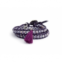 Grey Wrap Bracelet For Woman - Crystals Onto Amethyst Leather And Charm