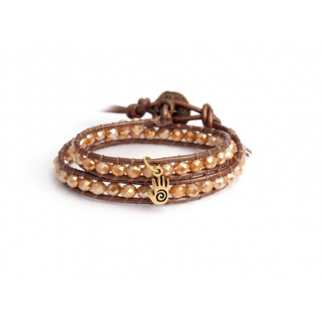 Gold Wrap Bracelet For Woman - Crystals Onto Metallic Brown Leather