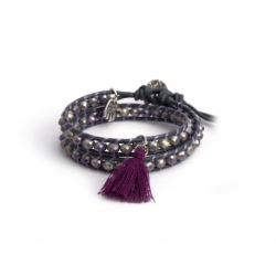 Grey Wrap Bracelet For Woman - Crystals Onto Grey Mouse Leather And Charm