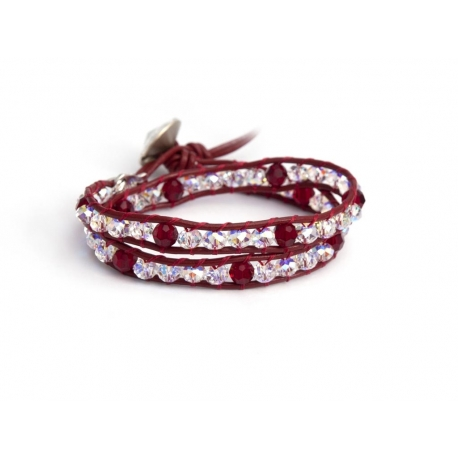 Extra Bright Swarovski Wrap Bracelet For Woman Onto Dark Red Leather With Ruby Red Crystlas And Swarovski Button