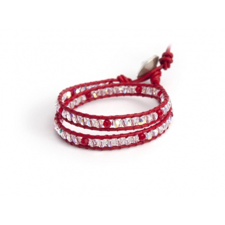 Swarovski Wrap Bracelet For Woman. Brilliant Red And Aurore Boreale Crystals Onto Fire Red Leather And Swarovski Button