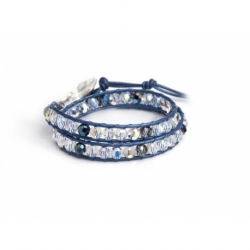 Swarovski Wrap Bracelet For Woman. Aurore Boreale And Blue Crystals Onto Metallic Blue Leather And Swarovski Button