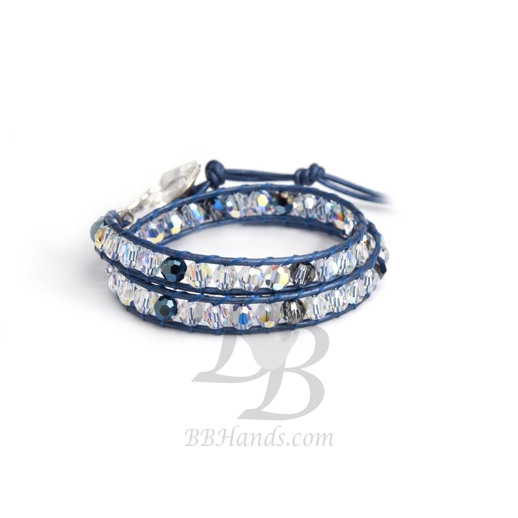 swarovski wrap bracelet for woman aurore boreale and blue crystals onto metallic blue leather. Black Bedroom Furniture Sets. Home Design Ideas