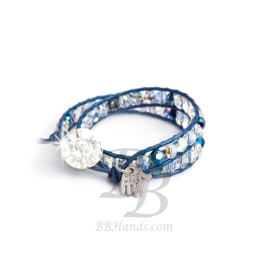 swarovski wrap bracelet for woman aurore boreale and blue crystals onto metallic blue leather. Black Bedroom Furniture Sets. Home Design Ideas