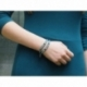 Green Tones Wrap Bracelet For Woman. Indicolite Leather And Swarovski Button