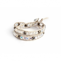 White Swarovski And Gold Crystals Wrap Bracelet For Woman. Crystals Onto Pearl Leather