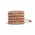 Gold Wrap Bracelet For Woman - Crystals Onto Natural Light Leather