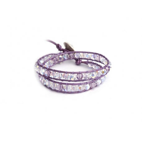 Violette Colors Swarovski Crystals Wrap Bracelet For Woman. Metallic Light Purple Leather And Swarovski Button