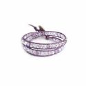 Violette Colors Swarovski Crystals Wrap Bracelet For Woman. Metallic Light Purple Leather And Swarovski Button