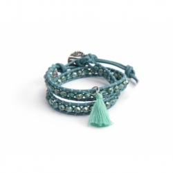 Green Wrap Bracelet For Woman - Crystals Onto Green Turquoise Leather And Charm
